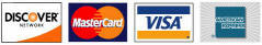 We accept Discover, MasterCard, Visa, and American Express credit cards.