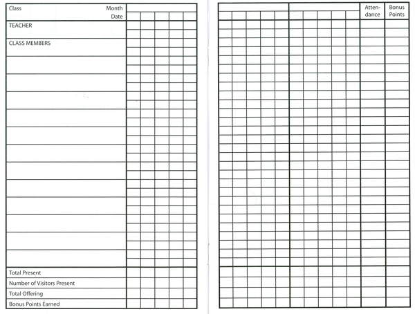 sunday school attendance sheet template .